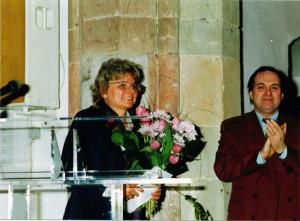 """1991 Eröffnung der Ausstellung """"Tradition und Avantgarde in Prag"""" in der Kunsthalle Dominikanerkirche Osnabrück, rechts: Jiří Gruša, Botschafter der Tschechoslowakei Foto: privat"""